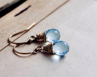 Sky Blue Topaz, Topaz Earrings, Dangle Earrings, Drop Earrings, Wire Wrapped, December Birthstone, Sky Blue, Birthstone Jewelry, PoleStar