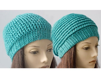 SALE,Reversible Crochet Hat, Vegan  Slouchy Beanie, Like Getting Two Hats In One, Aqua  Hat, Ready to Ship