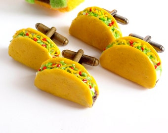 Crunchy Taco Mexican Fast Food Cufflinks - Delicious Cufflinks - Miniature Food Art Jewelry Collectable by Schickie Mickie
