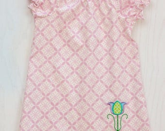 Girls Pink Peasant Dress with Tulip Applique - Tulip Dress - Girls Pink Dress - Spring Dress