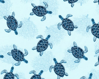 Cotton Quilt Fabric AWH-16723-59 Ocean by Lynnea Washburn from Marine Isle Quilts R Kaufman Quilting Sewing Crafting Material