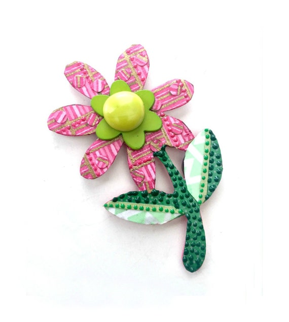 Mixed Media Flower Magnet, Pink Flower Magnet, Paper Mosaic Flower Magnet, Bright Pink Green Flower Magnet, Hot Pink Flower Magnet