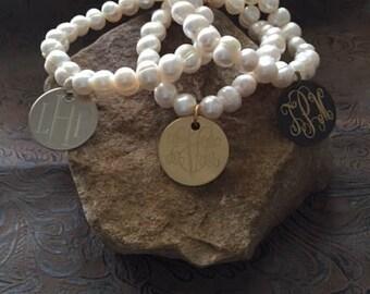 Monogram Pearl Bracelet-Stretch Monogram Bracelet-Jewelry-Bride-Bridesmaid