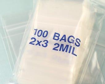 2 x 3 clear plastic bags 2 mil clear plastic bags plastic baggies 2x3 plastic bags (100-500)