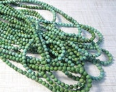 25% Off SALE Natural Royston Turquoise Round Beads 4mm,  Nevada   Mined Gemstone 3.65mm-4mm