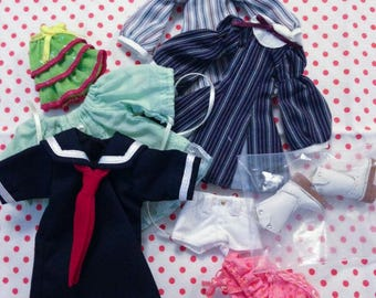 Upcycled Lot of Doll Fashion Clothing Fits Pico Neemo Mamachapp Barbie Kelly Etc. Set B