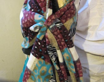 Patchwork Animal Print Fleece Wrap