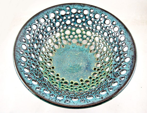 Teal blue pottery fruit bowl, handmade modern home decor - In stock 75 FB E 81 FB A
