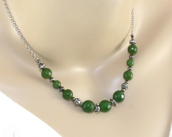 Nephrite Jade Necklace - Greenstone Beads, Stainless Steel Chain