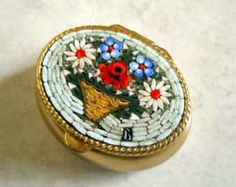 Millefiori Mosaic Italian Murano Glass Micro PILL BOX - Firenz Italy - Small Ring Box - Handmade Art Glass -
