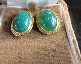 CHRYSOPRASE  SCARAB Pierced Earrings