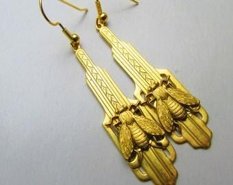 Art Deco Earrings Honey Bee Earrings Long Dangle filigree earrings Napoleon Bee