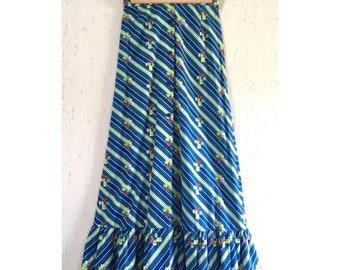 70's Boho Floral Maxi Skirt Deadstock