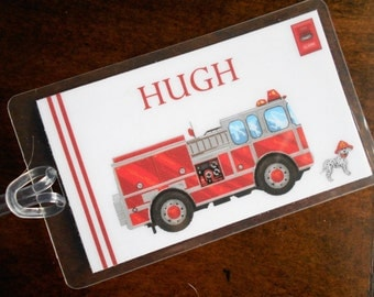 Fire Truck PERSONALIZED bag tag