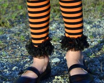 Black and Orange Chiffon Leggings - SALE