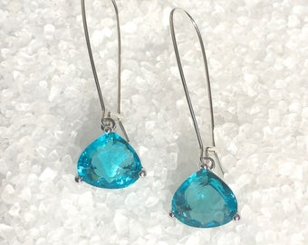 Sky Blue Topaz Crystal Dangle Earrings, Glass Dangle Earrings, Faceted Earrings
