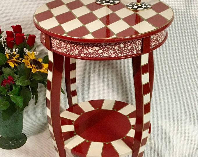 Whimsical painted table, harlequin painted end table, painted round end table