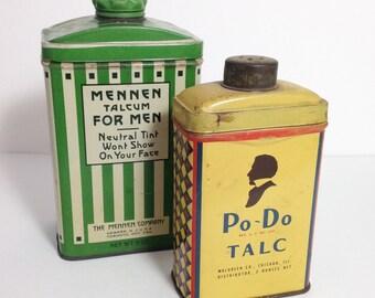 Pair of Vintage Men's Powder Tins, Mennen and PoDo Talc