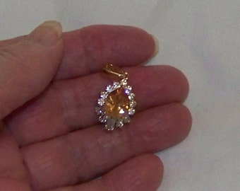 Morganite And White Topaz Lab Created Gems Set IN 14K Gold Filled  Pendant