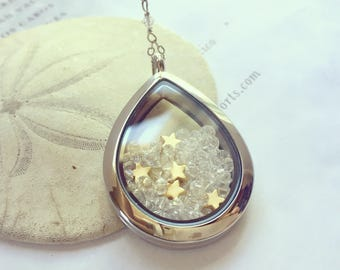 Y necklace, Star locket, glass locket, floating locket, Star locket necklace, bridal necklace, Swarovski crystal locket, Teardrop locket