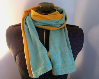 Silk and Cotton Orange Scarf with Teal Pattern Stripe