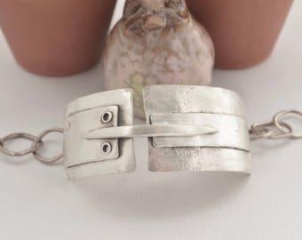 Sterling Silver Cuff Heavy Link Hammered Bracelet