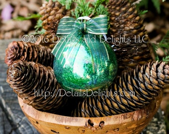 SALE!!! Green Tinsel Glitter Glass Round Ornament, Green Gold Striped Ribbon Bow, Satin White Ribbon, Christmas Holiday Tree Decor