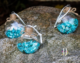 Set of 3 Teal Aqua Sea Shell Diamond Glass Disk Ornament, Jute Twine Cottage Seaside Beachy Hanging Christmas Holiday Tree Decor