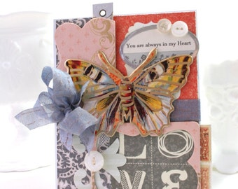 shabby chic card-butterfly-you are always in my HEART-greeting