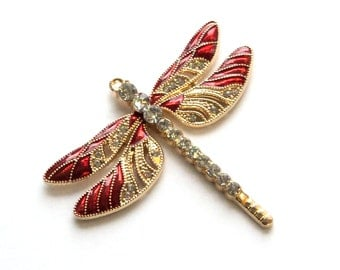 Magnet, Gold Toned Red Dragonfly, Upcycled Pendant, Red Enamel Clear Rhinestones