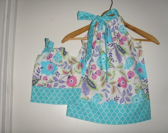 Doll and me SALE size 2T ready to ship 10% off code is tilfeb dresses turquoise  floral  Pillowcase dress