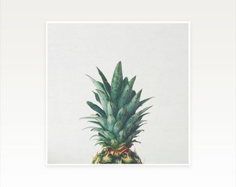 CLEARANCE SALE! Retro Pineapple Photography, Abstract, Leaves, Minimal Kitchen Art - Pineapple Top