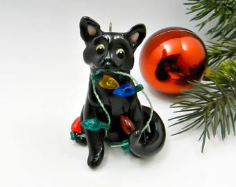 Black Cat Christmas Ornament Figurine Lights Porcelain