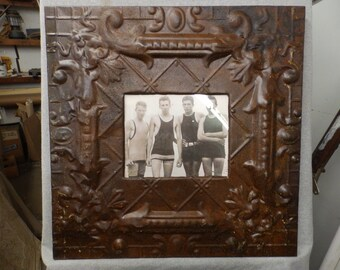 TIN CEILING Rust Burnish Picture Frame 8x10 Shabby Recycled chic 547-16