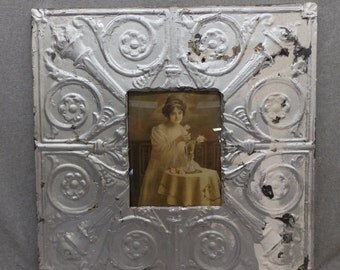 TIN CEILING Picture Frame Silver 8x10 Shabby Recycled chic 17-17
