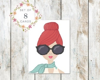Set of 8 Portrait Stationery -Cotton Stationery - Red Hair and Big Glasses Birthday Card - Excellent Bridal Gift