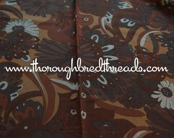 "Groovy Brown Flower Power - Vintage Fabric Mod Apparel 36"" wide"