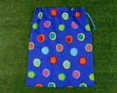 Large drawstring library bag or toy bag, bright coloured spots on royal blue, storage bag