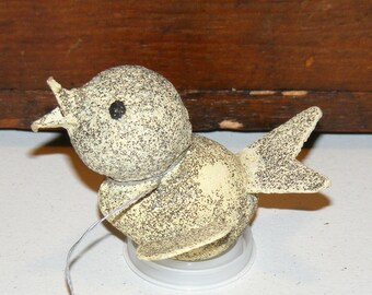 Vintage Paper Mache Cardboard Mica Glitter Bird Ornament marked Japan