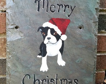 Santa Paws Boston Terrier Merry Christmas Upcycled Slate Sign PENNY SHIPPING