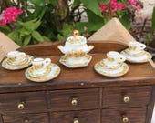 Dollhouse Miniature White with Yellow Flowers Tea Cups and Soup Tureen