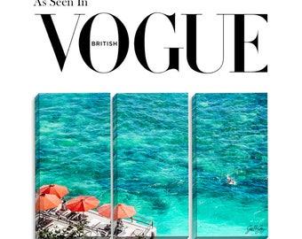 As Seen In Vogue, Delphi, Bluepoint Beach, Uluwatu, Bali, Indonesia, Refined Triptych Canvas Art, Surf, Indian Ocean, Umbrella, Glamorous