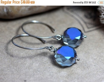 Blue Earrings Glass Bead Earrings Matte Table Faceted Indigo Blue and Silver Earrings Rustic Jewelry