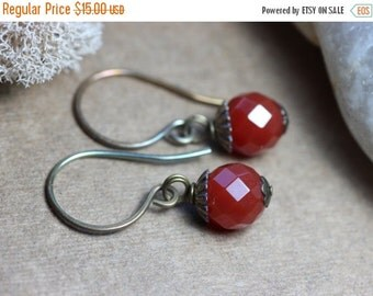 Red Carnelian Earrings Antiqued Brass Rustic Jewelry Red Earrings Fall Berry