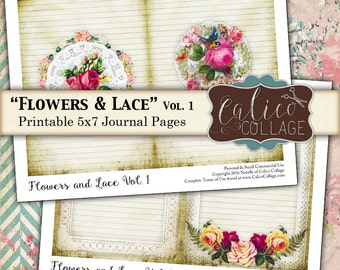 Flowers and Lace, Printable Journal Pages, Junk Journal, Instant Download, Junk Journal Pages, Printable Ephemera, Floral Printable