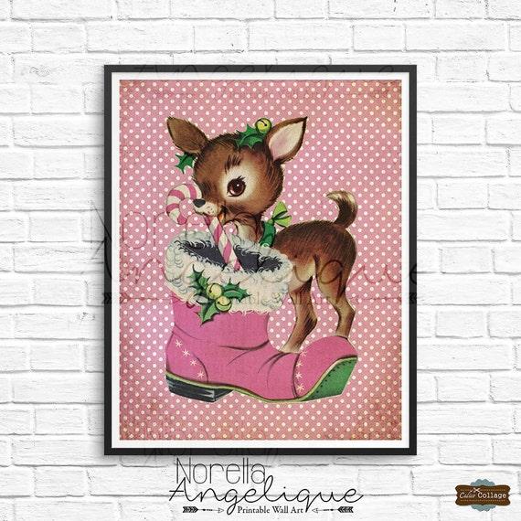 Vintage Christmas Wall Decor : Christmas reindeer printable wall art retro