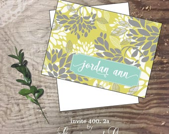 Personalized custom stationery turquoise yellow notecards monogram note cards Personalized notes   Wedding cards bridal