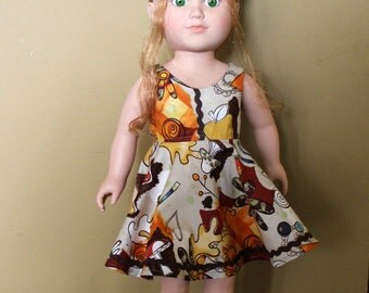 Autumn leaves dress for 18 inch doll
