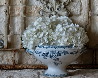 Vintage Lovely French Blue And White Ironstone Tureen