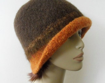 Womens Wool Felted Hat Hand Knit Brown Boiled Wool